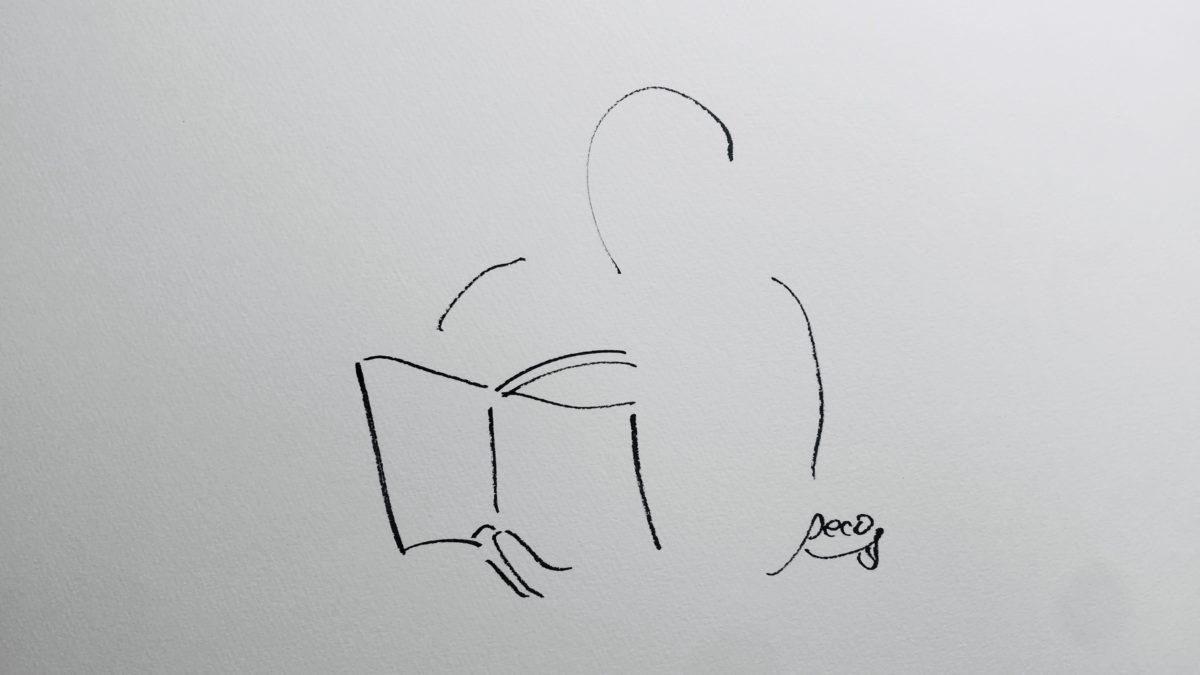 本を読んでいる姿のイラスト(Ryota Yasuda作)